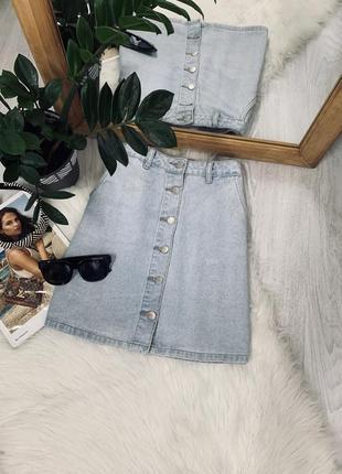 Джинсова юбка на ґудзиках від new look