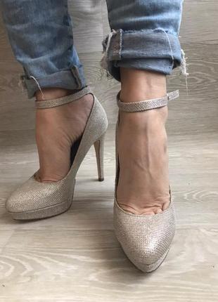 Туфли с глитером / блестящие серебряные вечерние туфли