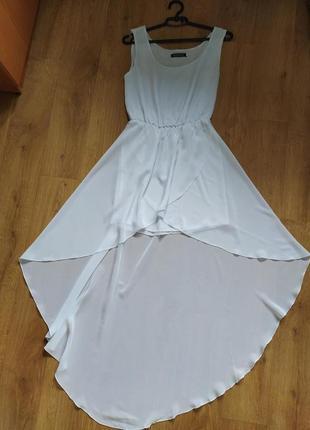 Шикарное вечернее шифоновое платье ассиметрия