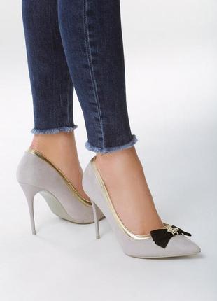 Новые шикарные женские серые туфли лодочки