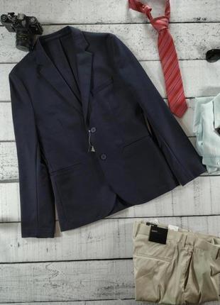 Пиджак синий коттоновый приталеный h&m