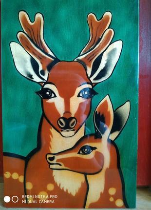 """Картина винтаж раритет лакированная толстая фанера """"олени"""" 1970г."""