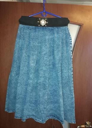 Длиная джинсовая юбка солнце