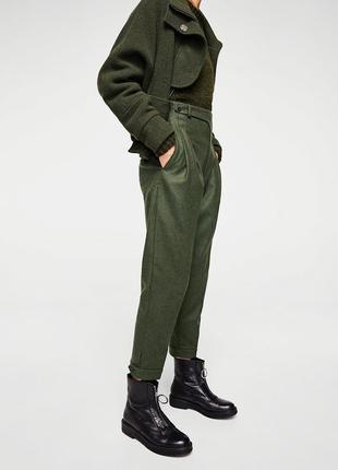 Шикарные шерстяные брюки с высокой посадкой в стиле милитари mango