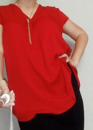 Красная блуза из вискозы xlnt 20-22