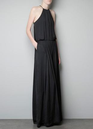Довге чорне сатинове плаття з  мереживом