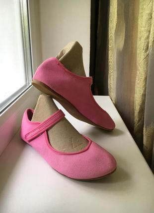Тканевые розовые туфельки балетки