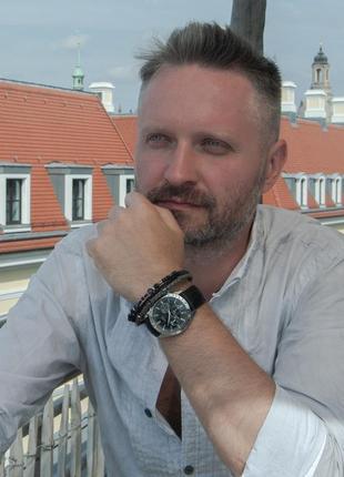 Мужской кожаный браслет с лабрадором