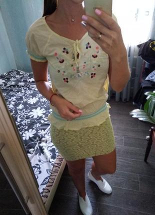 Милая блуза с вышивкой вышиванка размер с-м