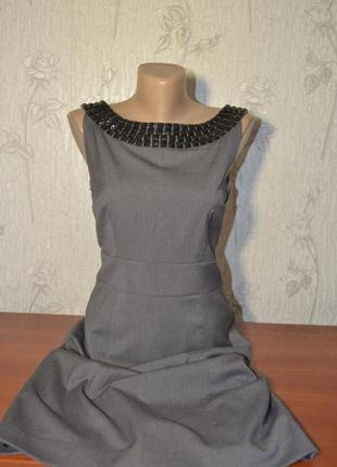 Большой выбор платьев и сарафанов классическое стильное  серое платье миди на подкладе камни h&m1
