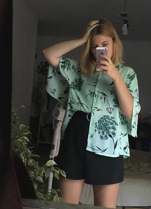 Цветочная бирюзовая блуза papaya