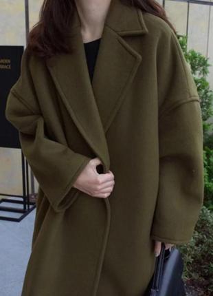 Пальто осеннее зеленое хаки