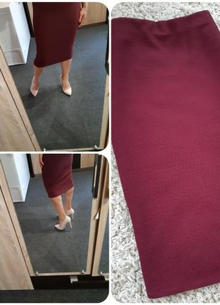 Стильная юбка карандаш миди, бордо, promod, p. 8-12
