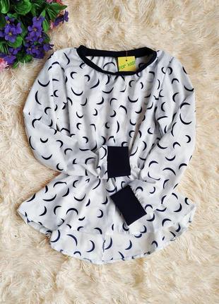 ♠️ школьная нарядная блузка с баской, длинный рукав ♠️