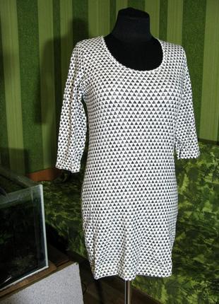 Хлопковая актуальная черно-белая туника кофта лонгслив топ размер м
