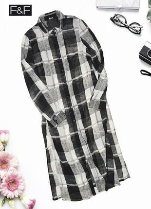 Длинное платье рубашка с разрезами по бокам f&f