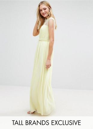 Желтое шифоновое платье с отделкой из кружева little misstress, р-р 12