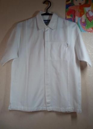 Белая рубашка для мальчика лен 12-13 лет