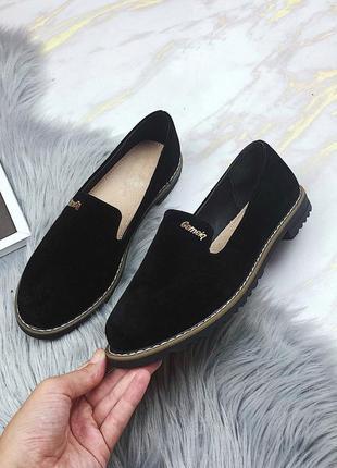 Новые шикарные женские черные туфли лоферы балетки