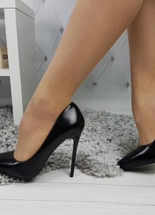 Новые шикарные женские черные туфли лодочки