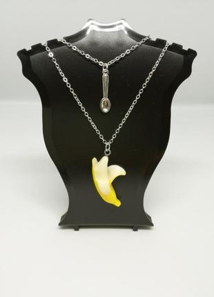 Двойной кулон приличная девушка банан и ложка двойное ожерелье цепочка фрейд