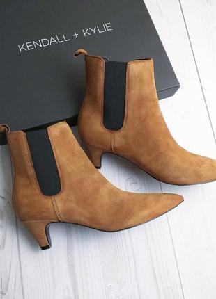 Kendall + kylie оригинал рыжие замшевые ботильоны на китен каблуке