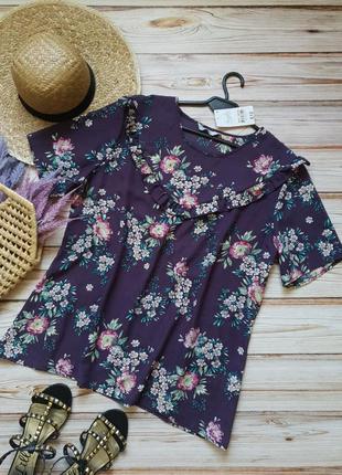 Шифоновая летняя цветочная блуза с рюшей