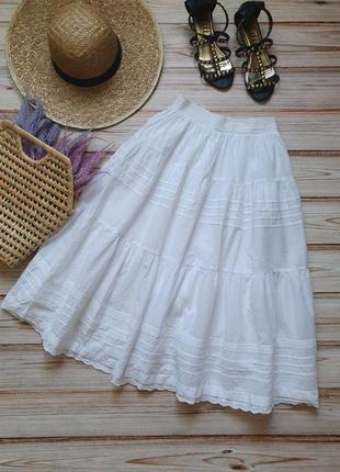 Шикарная натуральная хлопковая коттоновая пышная юбка с кружевом