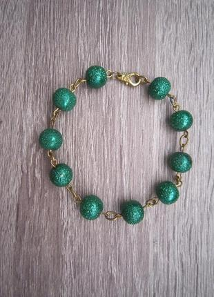 Браслет зеленый handmade