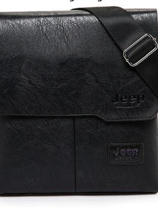 Черная кожаная сумка планшет jeep buluo1 фото