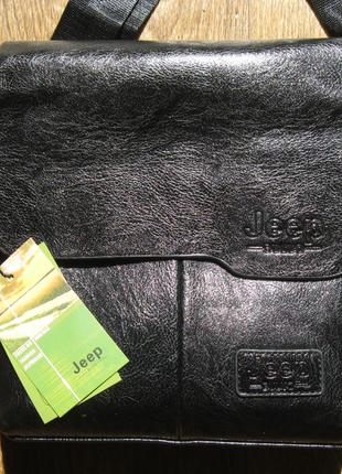 Черная кожаная сумка планшет jeep buluo2 фото