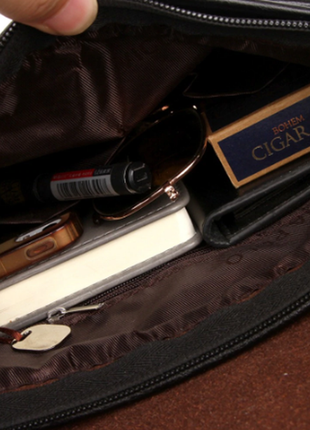Черная кожаная сумка планшет jeep buluo4 фото
