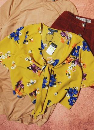 Тотальная распродажа! шифоновая блуза с завязкой на груди