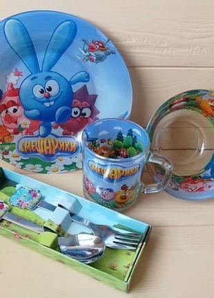 Набор детской посуды смешарики 5 предметов