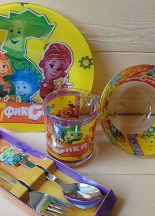 Набор детской посуды фиксики 5 предметов