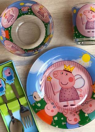 Набор детской посуды свинка пеппа 5 предметов