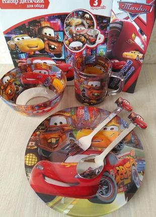 Набор детской посуды тачки