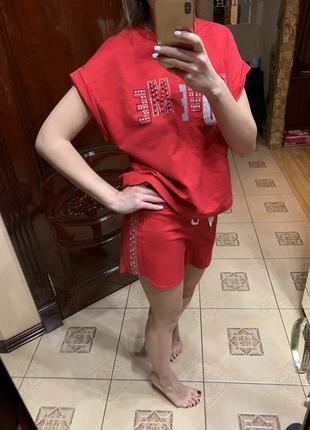 Костюм красный шорты футболка imperial
