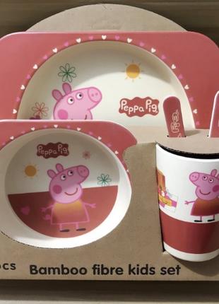 Детская посуда  свинка пеппа бамбук 5 предметов