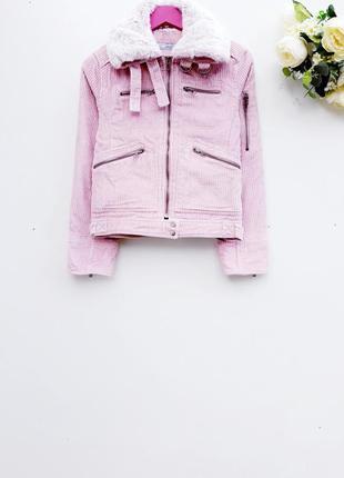 Нежно розовый бомбер вельветовый бомбер красивая теплая куртка