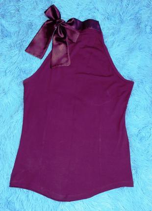 Фиолетовая летняя кофточка с открытыми плечами и аласным  бантом-завязкой