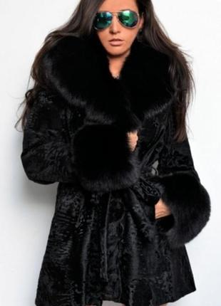 Пальто с мехом каракульча swakara мех -пальто с красивым финским песцом италия 2017