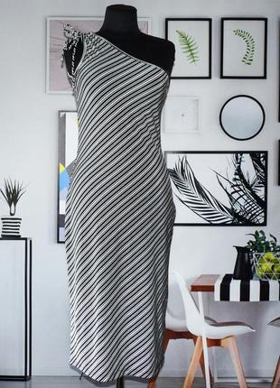 Платье на одно плечо трикотажное в полоску suzy shier (канада)
