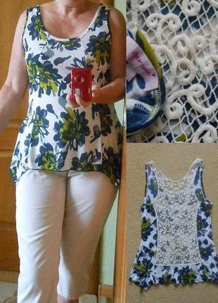 Туника m&s per una блуза блузка майка легкая ажурная кружевная спинка на купальник шорты