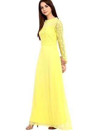 Платье в пол с отделкой из кружева la zoire,р-р m