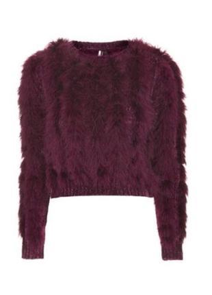 Теплый укороченный свитер с пером topshop,р-р 8
