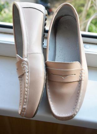 Мокасины туфли бежевые кожаные