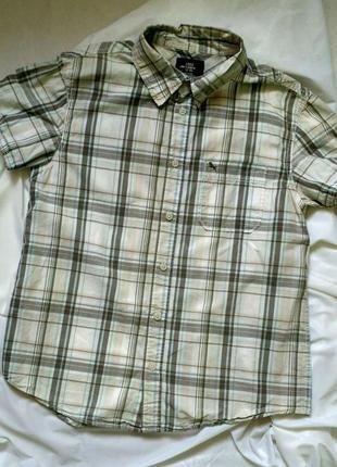 Хлопковая рубашка h&m с коротким рукавом на мальчика 11 12 13 14 лет в клетку светлая