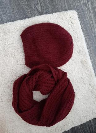 Шапка +шарф колі марсала