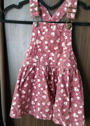 Цветочный комбенизон юбкой на 2-3 года